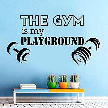 The Gym Is My Playground Tatuajes de pared Deporte Gym Fitness Art Etiqueta de La Pared con Mancuernas ...