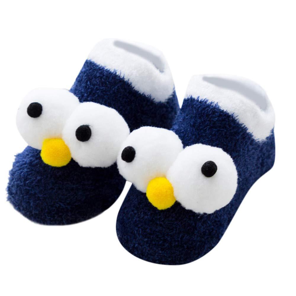 Hattfart Kids Boy Girl Cartoon Eyes Slipper Soft Warm Winter Plush Fluffy Non-Skid Indoor Slipper Shoes Boot Socks (S, Navy)