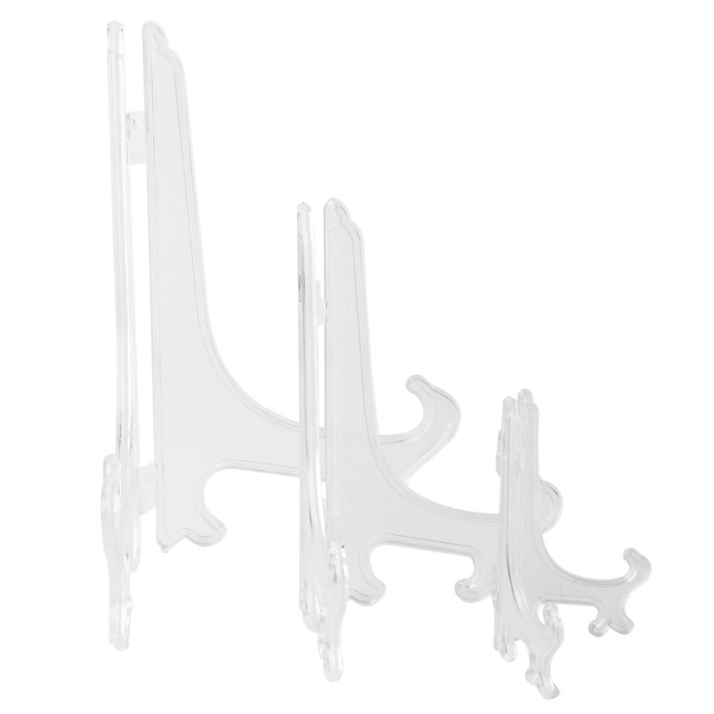 3 Pcs Frosted Foldable Clear Plastic Plate Dish Display Stands Picture Frame Easels Holder styleinside