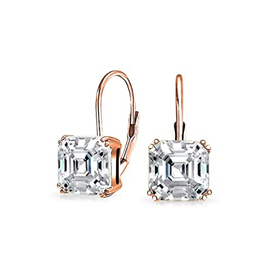 Cubic Zirconia Sterling Silver 925 Plate White Gold Elegant Wedding Earrings Bridal & Wedding Party Jewelry Jewelry & Watches