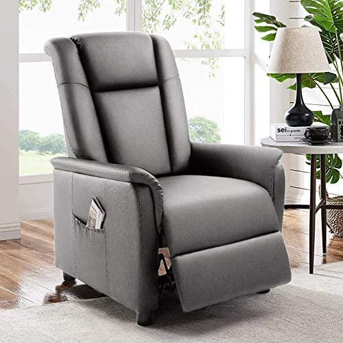 BOSSIN Single Recliner Chair Sofa Padded Seat PU Leather Living Room Sofa Recliner Modern Recliner Seat Club Chair Home Theater Seating