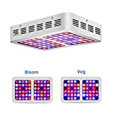 HILLPOW 300W LED Grow Light Full Spectrum for Indoor Greenhouse Hydroponic Plants Veg and Flower (White)