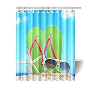 Valentine's Day Gifts Sunglasses Flip Flops Starfish On Beach Design Waterproof Bathroom decor Fabric Shower Curtain Polyester 60 x 72 inches