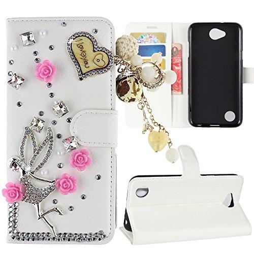 New Design Pu Leather - LG X Charge Case , LG Fiesta LTE Case , LG X Power 2 Case , LG K10 Power Case, Best Alice New DIY Design Flip PU Leather 3D Handmade Bling Crystal Diamond Wallet Case [Love tassel Angel]+ [White]