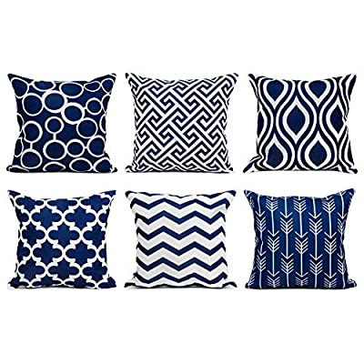 Top Finel Accent Decorative Throw Pillow Covers Durable Canvas Outdoor Throw Pillow Covers 20 X 20 for Couch Bedroom, Set of 6, Navy - SUPER PLUSH MATERIAL & SIZE: Made of durable canvas, comfortable to touch and lay on. 20 X 20 Inch per pack, included 6 packs per set, NO PILLOW INSERTS. WORKMANSHIP: Delicate hidden zipper closure was designed to meet an elegant look. Tight zigzag over-lock stitches to avoid fraying and ripping. NO PECULIAR SMELL: Because of using environmental and high quality canvas fabric,our throw pillow cases are the perfect choice for those suffering from asthma, allergen, and other respiratory issues. - patio, outdoor-throw-pillows, outdoor-decor - 514%2BWcM7MvL. SS400  -