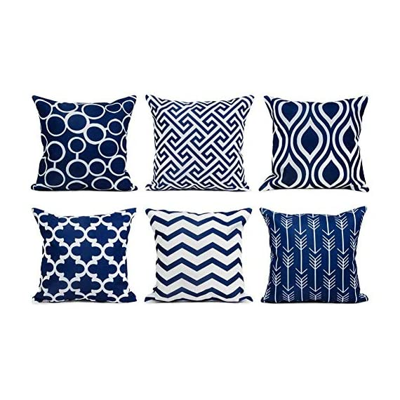 Top Finel Accent Decorative Throw Pillow Covers Durable Canvas Outdoor Throw Pillow Covers 20 X 20 for Couch Bedroom, Set of 6, Navy - SUPER PLUSH MATERIAL & SIZE: Made of durable canvas, comfortable to touch and lay on. 20 X 20 Inch per pack, included 6 packs per set, NO PILLOW INSERTS. WORKMANSHIP: Delicate hidden zipper closure was designed to meet an elegant look. Tight zigzag over-lock stitches to avoid fraying and ripping. NO PECULIAR SMELL: Because of using environmental and high quality canvas fabric,our throw pillow cases are the perfect choice for those suffering from asthma, allergen, and other respiratory issues. - patio, outdoor-throw-pillows, outdoor-decor - 514%2BWcM7MvL. SS570  -