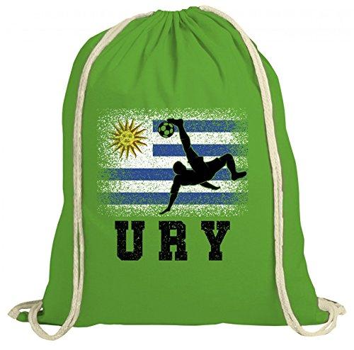 ShirtStreet Wappen Fußball WM Fanfest Gruppen Fan natur Turnbeutel Rucksack Gymsac Uruguay Football Player Grün Natur P3kGaCQI