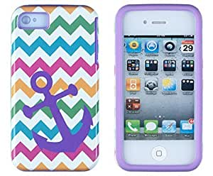 Sunshine Case 2in1 Hybrid High Impact Hard Nautical Anchor Colorful Chevron Pattern + Purple Silicone Case Cover For Apple iPhone 4S & iPhone 4 + Sunshine Case Screen Cleaner