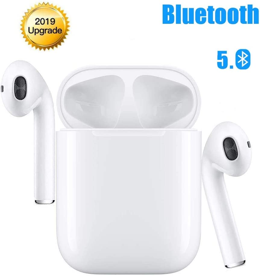 Bluetooth Headphones Auto Pairing Earphones TWS Earbuds Stereo Earpieces Cordless Audio Earphones Mini in-Ear Sport Headsets and Charging Case for iOS iPhone Android Galaxy Sumsung