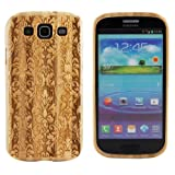 Boho Tronics TM Genuine Geometric Symmetrical Damask Pattern Bamboo Case Engraved Cover Hard Natural Smooth Wood Skin - Compatible With Samsung Galaxy S3 III i9300