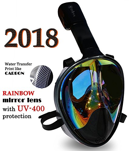 Mask Full Face Snorkel- EasyBreath- 180⁰ Panoramic Seaview- Rainbow Mirror Lenses HD- Design Scuba Mask- Diving Mask- Anti-Leak & Anti-Fog- Adjustable Silicone Straps (Carbon, (Panorama Mask)
