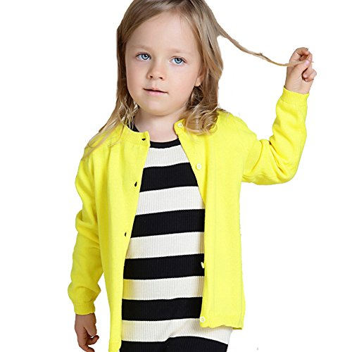 VICVIK Baby Girls' Long Sleeve Crew Neck Classic Colorful Cardigan Sweater (12-18M, Yellow)