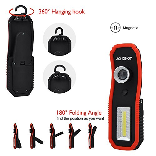 Portable LED Work Lights,Focus Function Multi-use 100LM XPE LED and 200LM COB,Waterproof Magnetic Base & Hanging Hook for Outdoor,Car Repairing, Blackout,Emergency,Travel and Indoor by AONOKOY (Image #3)