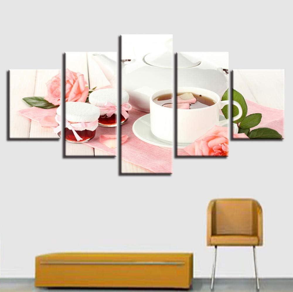 PrintWUHUA Cuadros Lienzos Decorativos Rosa Rosa Flor Y Taza De Café con Leche Cuadros Abstractos Modernos 5 Partes (W) 150Cmx(H) 80Cm