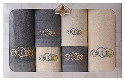 Westward Ho! Sphere Embroidery Box Towel, Cream/Charcoal Grey by Westward Ho!