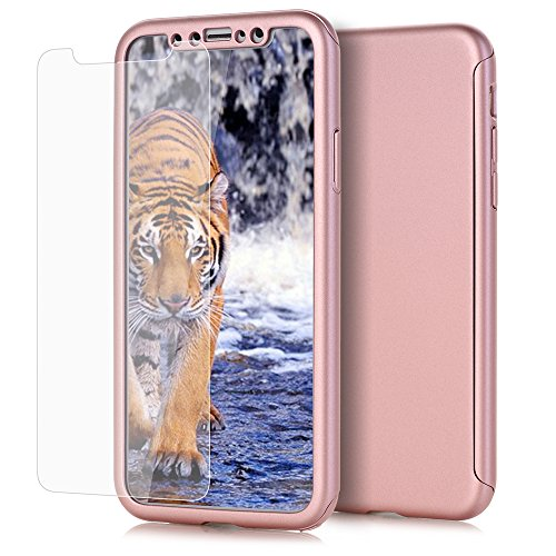 Duo Shield Armor Case (iPhone X Case, VPR 2 in 1 Ultra Thin Full Body Protection Hard Premium Luxury Cover [Slim] Shock Absorption PC case for Apple iPhone X / iPhone 10 2017 (RoseGold))