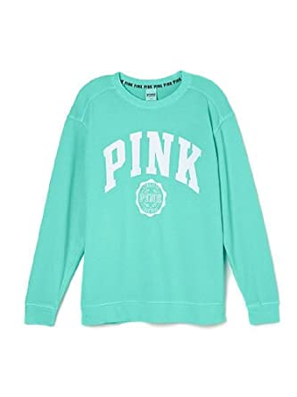 bc002e0cc56 Victoria s Secret PINK Oversized Varsity Crew Pullover Small Mint Blue at  Amazon Women s Clothing store