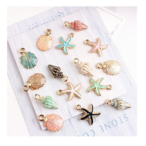 Stock Show 15Pcs/lot Coloful Nautical Ocean Starfish Shell Conch Pendant Alloy Enamel Charm DIY Accessories of Necklace Bracelet Earrings Jewelry Accessory DIY Craft
