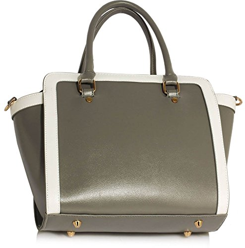 Leather Faux Design Medium Size Bags White Handbags Style Tote Shoulder Womens Ladies Celebrity Grey 1 New c7WAnz7x8