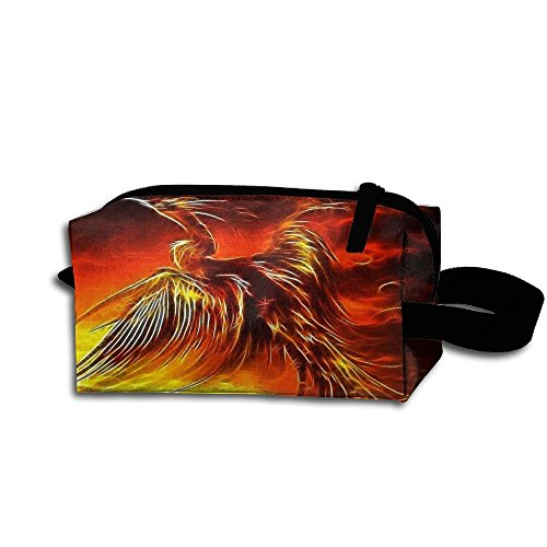 Makeup Cosmetic Bag Fire Birds Phoenix Zip Travel Portable Storage Pouch For Mens Womens