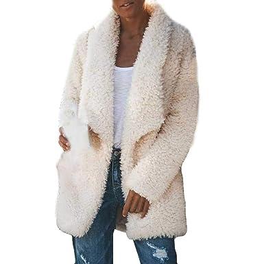 official photos 692e1 d54e4 FRAUIT Damen Mantel Winter Elegant Warm Faux Fur Kunstfell ...