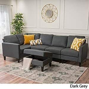 Carolina Dark Grey Fabric Sectional Couch with Storage Ottoman