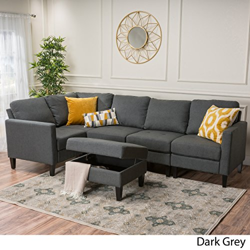 Carolina Dark Grey Fabric Sectional Couch with Storage Ottoman