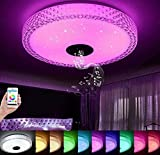 LED Music Ceiling Light, with Bluetooth Speaker 36W, 90-265V Dimmable Drop Ceiling Lamp