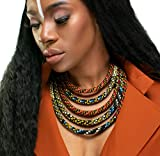 African Jewelry Necklace | Ketepa Print Jewelry | The Monarch African Bib Necklace | Ketepa 5 Strand Bib Necklace | Afrocentric Collar | Cloth & Cord