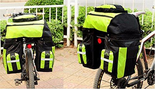 65L Waterproof Cycling Bag Bicycle Rack Bag Long Journey Luggage Mountain Bike Pannier Cycling Bags +Rain Cover (Green) by WenZi (Image #1)