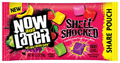 Now & later Shell Shocked Mixed Fruit Flavor Chewy Bites Candy, Apple, Cherry, Strawberry, Grape and Banana, 3.5 Ounce (Pack of 18)