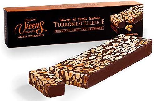 Turrón de Chocolate con Leche y Almendras Excellence 300gr: Amazon.es: Alimentación y bebidas
