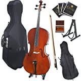 Cecilio CCO-500 Ebony Fitted Flamed Solid Wood Cello with Hard and Soft Case, Stand, Bow, Rosin, Bridge and Extra Set of Strings, Size 4/4 (Full Size)