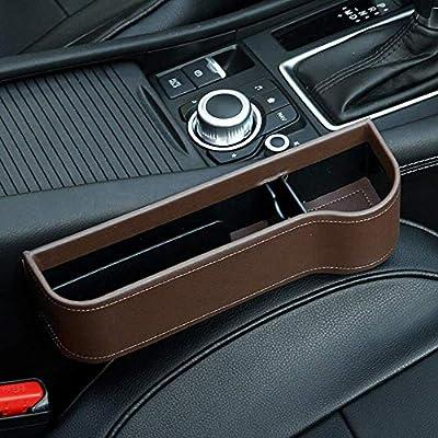 washidai Auto Black PU Leather Car Pocket Organizer Seat Gap Filler Box w/Cup Holder: Automotive