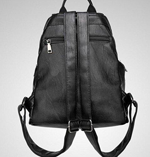 de las FZHLY mujeres genuino señoras de la de la muchacha el de a Black Forme bolso cuero viaje mochila bolsa la mochila r4T48XqW