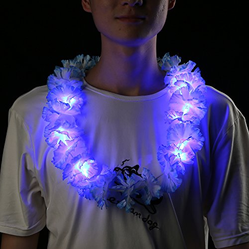 Fun Central I619 LED Silk Flower Leis - Assorted - 12pieces (Buy Leis In Bulk)