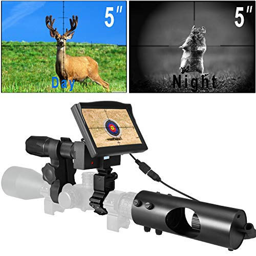 RHYTHMARTS Hunting Night Vision Monocular Scope for Riflescope with Camera and 5'' Screen
