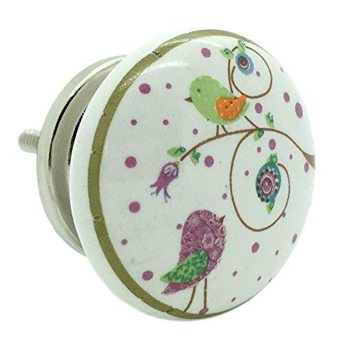 Birds Garden Ceramic Door Knob Vintage Shabby Chic Cupboard Drawer Pull Handle by G Decor Door Ironmongery Ltd 4574