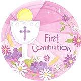 Amscan First Communion Round Dessert Paper Plates, Pink, 7