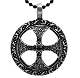 """Exoticdream Ancient Knot Celtic Cross Pewter Pendant Religious Christian Irish Viking + 24"""" Ball Chain Necklace"""