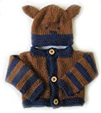 Product review for KSS Handmade Navy/Brown Baby Sweater/Cardigan With an Animal Hat (3 Months)