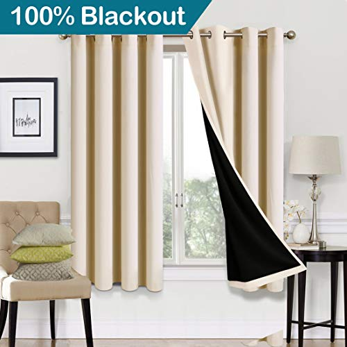 EASELAND Blackout Curtains 2 Panels Set Room Drapes Thermal Insulated Solid Grommets Window Treatment Pair for Bedroom, Nursery, Living Room,Lined Beige,W52xL63