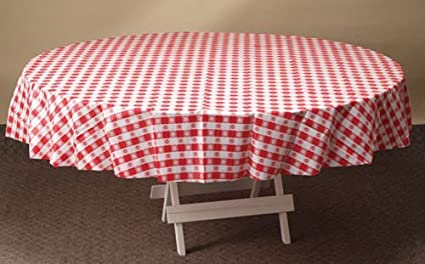 Amazon Com Hoffmaster Round Red Gingham Plastic Table Cover 84
