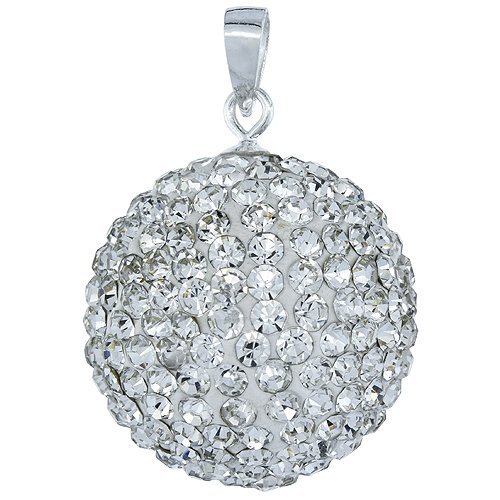 Sterling Silver White Crystal Disco Ball Pendant 20mm (April Ball Silver)