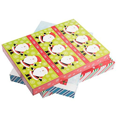 JAM PAPER Small Christmas Boxes - 10 7/8 x 7 7/8 x 1 1/4 - Colorful Christmas Set - 3/Pack (Jam Paper Gift Box)