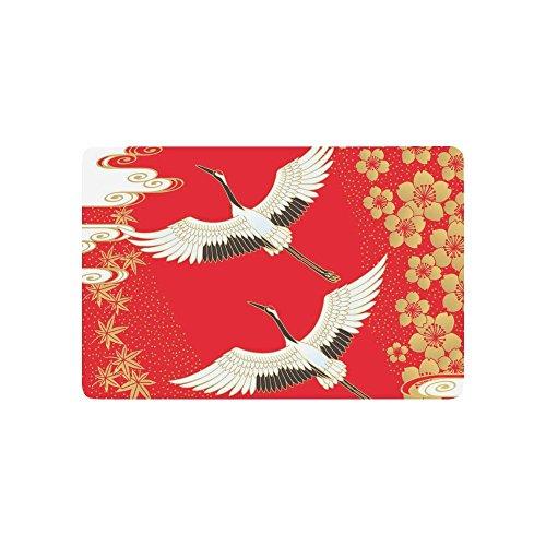 INTERESTPRINT Japanese Cherry Blossom Anti-Slip Door Mat Home Decor, White Cranes Gold Maple Leaves Indoor Outdoor Entrance Doormat Rubber Backing 23.6 X 15.7 - Leaf Cranes Gold