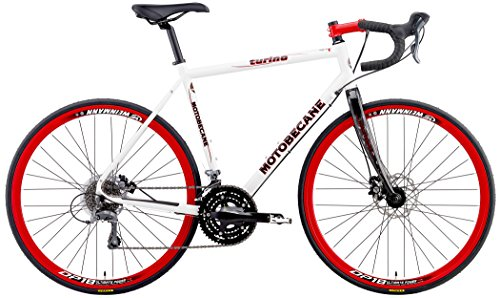 Motobecane 2018 Turino ELITE Disc Shimano Claris STI 24 Speed Carbon Forks Disc Brakes Super Road Bike (White, 53cm - 5'7