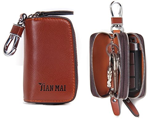 Contacts Genuine Leather Double Zipper Car Key Case Holder Wallet Keychain Coin Purse Brown