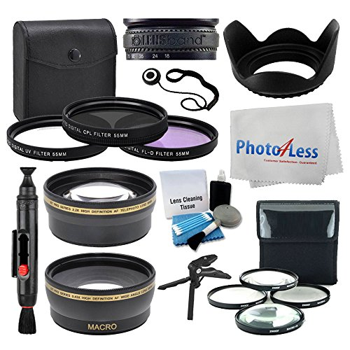 55mm Lens 3 Piece Filter Accessory Kit for Canon, Nikon, Sony, Samsung, UV/CPL/FLD + Telephoto Lens + Wide Angle + Lens Hood + 4 Piece Macro Filter Kit + Tabletop - Polarize Of Definition