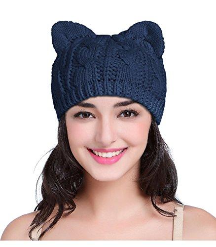 V28 Hand Made Fashion Women Girl Crochet Knit Winter Cat Deer Ear Caps Xmas Hats (Medium, Cat Ear Navy) -